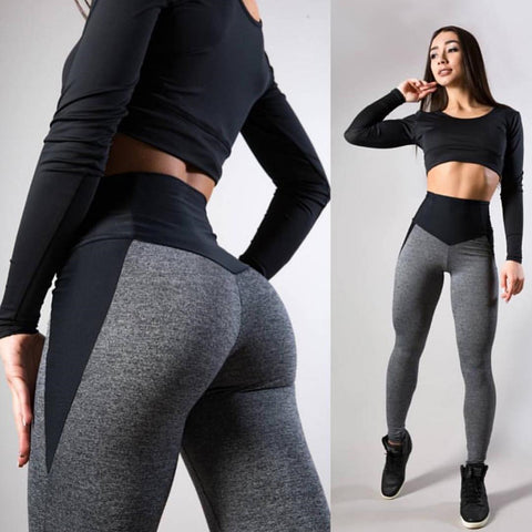 Fitness Casual Patchwork Mesh Workout Leggings