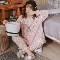 Cute Pink Pijamas Round Neck Nightwear