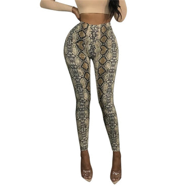 Casual Sexy Snake Skin Print Elastic High Waist Leggings