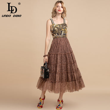 Spaghetti Strap Sequin Crystal Beading Mesh Dress