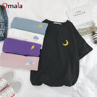 Korean cartoon Embroidery Loose All-match t shirt