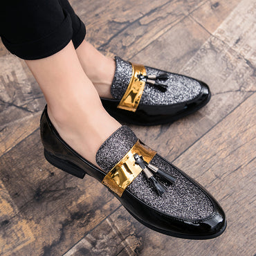 Flat Black Golden Formal Patchwork Shoes