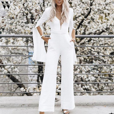 Formal Elegant Long Pant Trendy V-neck Jumpsuits