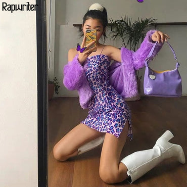 Elegant Slim Spaghetti Strap Purple Leopard Dress