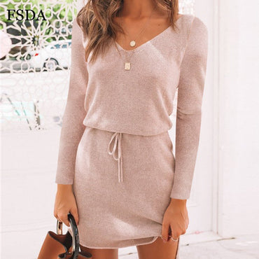 V Neck Sashes Long Sleeve Casual Dress