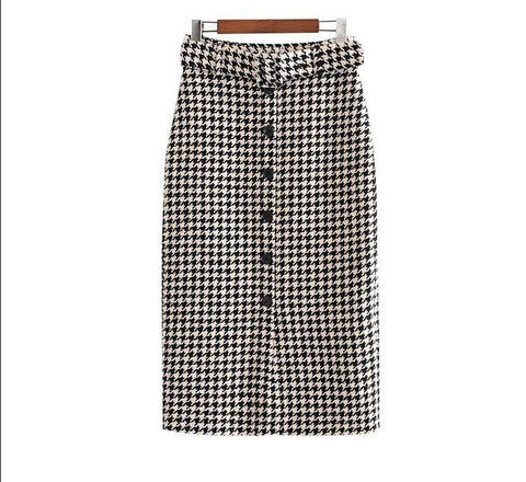 elegant tweed houndstooth plaid midi skirt