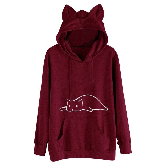 Cat Ear Solid Hoodies