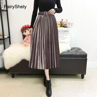 Vintage Velvet Pleated Long Skirt
