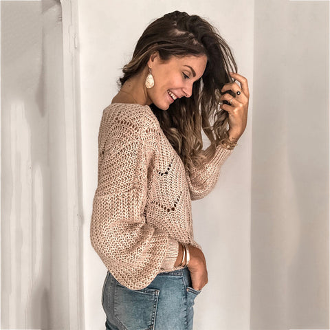 crew neck cutout knitted jumper pullover sweater