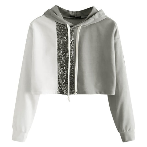 Sequined Patchwork Hoodie