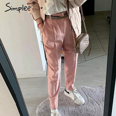 Pink plaid casual pants