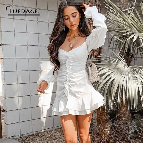 White Ruffles Off Shoulder Sexy Dress