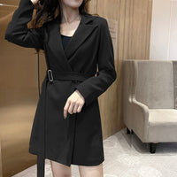 OL Style Notched Collar Sashes Full Sleeve Slim Waist Dress