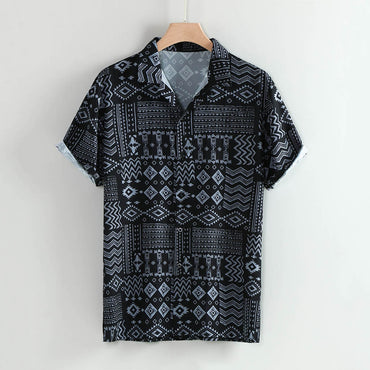 Lapel Leaf Print Short Sleeve Cotton Casual Shirt