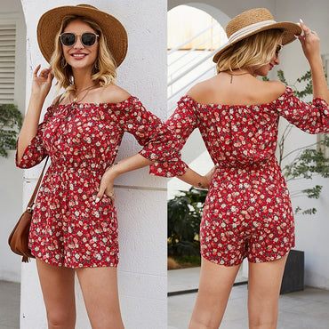 Red Floral Off Shoulder Bohemian Rompers