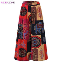 Wide Leg Style Folk-custom Elastic Contrast Color Loose Trousers