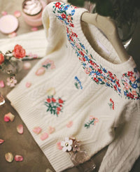 Prairie Chic Embroidered Floral Knitted Sweater