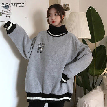 Thicker Plus Velvet Solid Striped Printed Oversize Loose Sweatshirt
