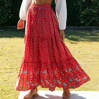 Boho Inspired Red Floral Print maxi skirt