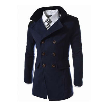 Collar Wool Blend Double Breasted Coat