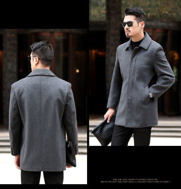 wool collar long coat