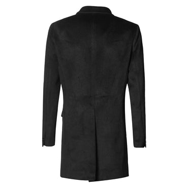 British Style Black Long Cashmere Woolen Overcoat