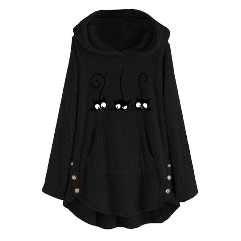 Fleece Cat Embroidery Warm Hoodie