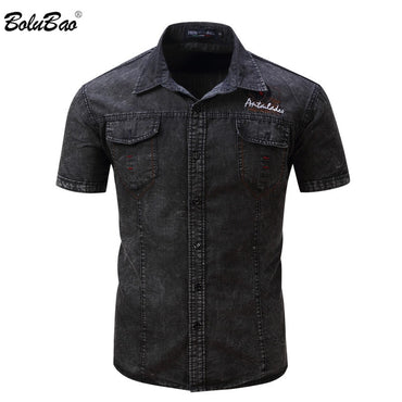 Military Style Turn-Down Collar Denim Shirt