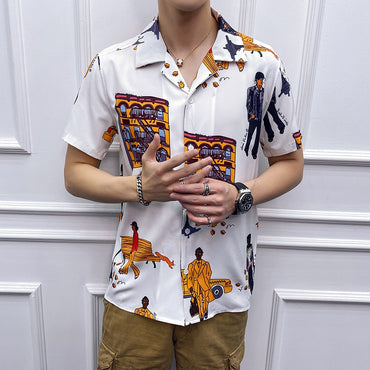 Fashion Short Sleeve Yellow Printed Hawaiian Shirt