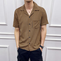 Fashion Striped Shirts Short Sleeve Gold Hawaiian Shirt
