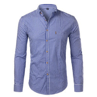 Plaid Cotton Casual Slim Fit Long Sleeve Button Down Dress Shirts