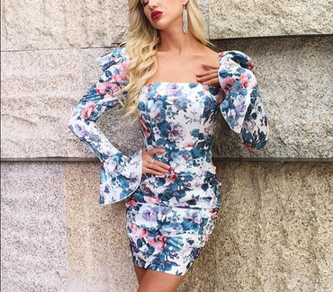 Floral print vintage bodycon mini dress