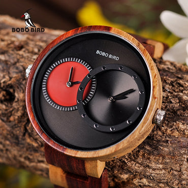 Multiple Time Zone Wooden Watch