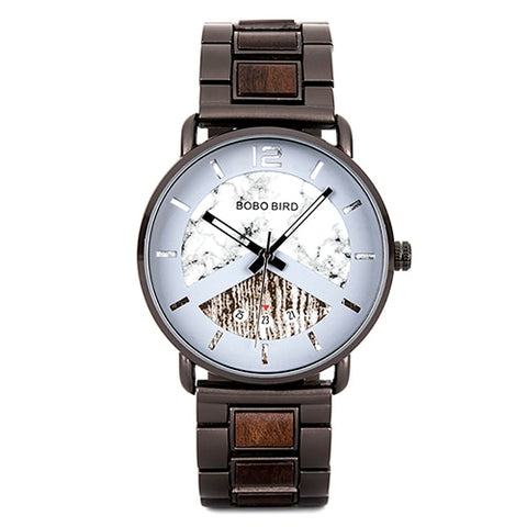 Timepiece Date Show Stainless Steel & Wood Band Watch