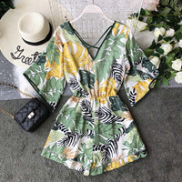 Sexy Chiffon Tunic Floral Print  Rompers