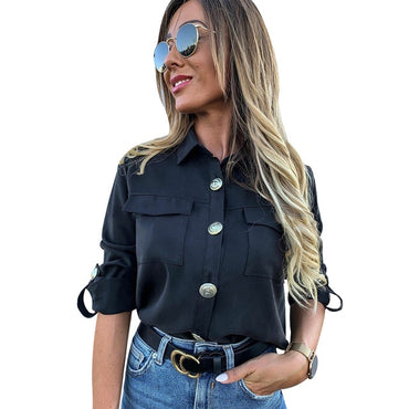 Casual Button With Pocket Blouse