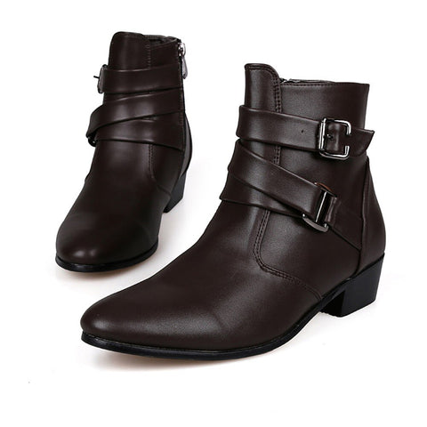 Pointed England Leather Buckle Martin Boots