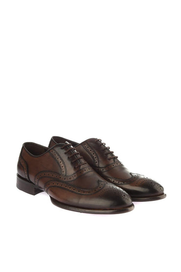 Pearl Genuine Leather Brown Oxford Shoes