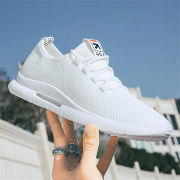 White Lightweight Breathable Comfortable Lace-up Sneakers