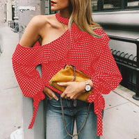 One Shoulder Polka Dot Blouse Tops