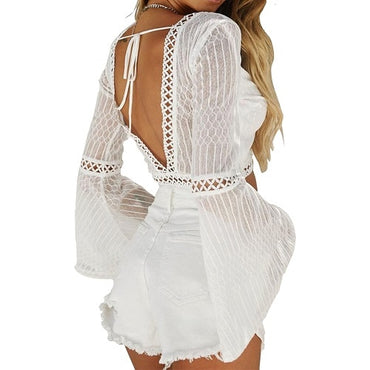 White Crochet Short Blouses Shirt