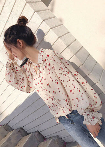 Long Flare Sleeve Chiffon Chic Blouse