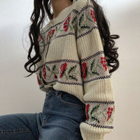 V-neck Floral Jacquard Cardigan Sweater