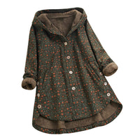 Print Hooded Pocket Vintage Oversize Coats