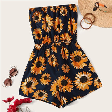 Sunflower Print Tube Romper
