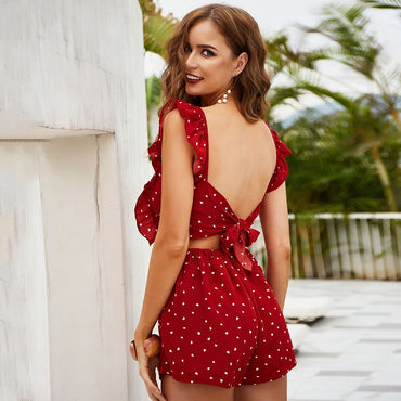 dot print red ruffle beach romper