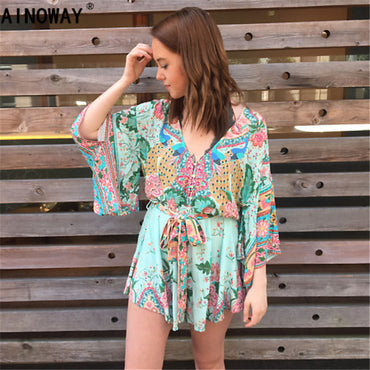 Bohemian peacock Floral print Beach Happie Rompers