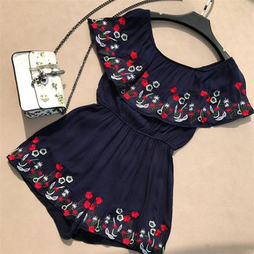 Off Shoulder Embroidery Flower Romper