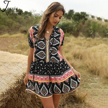 Bohemian Print V-neck Tie up Rompers
