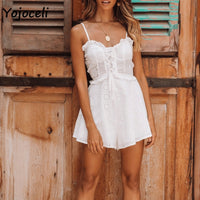 sexy lace up white ruffle boho beach short rompers
